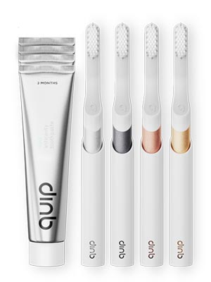 group of quip toothbrushes